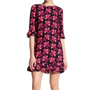 cynthia steffe // floral ruffle hem + sleeve dress